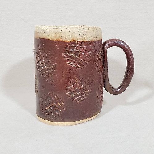 Handmade Indian Brown and Ivory Pattern Ceramic Mug