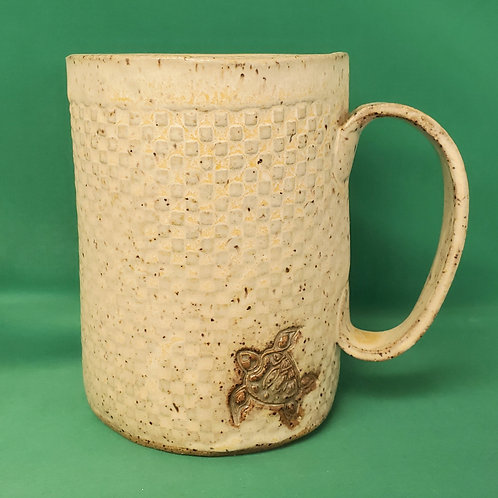 Handmade Ceramic 16 oz Ivory Mug with a Green Sea Turtle