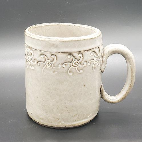 Handmade Ceramic White Mug with Floral Design