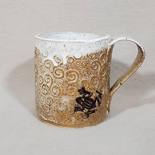 Handmade Swirl Pattern Brown Ceramic Mug with Dark Brown Tree Frog