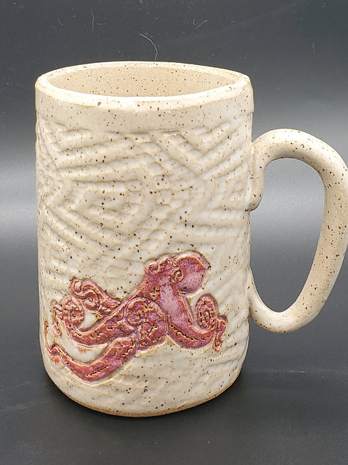Pre-Order Handmade White Ceramic 16 oz Mug with a Pink Octopus