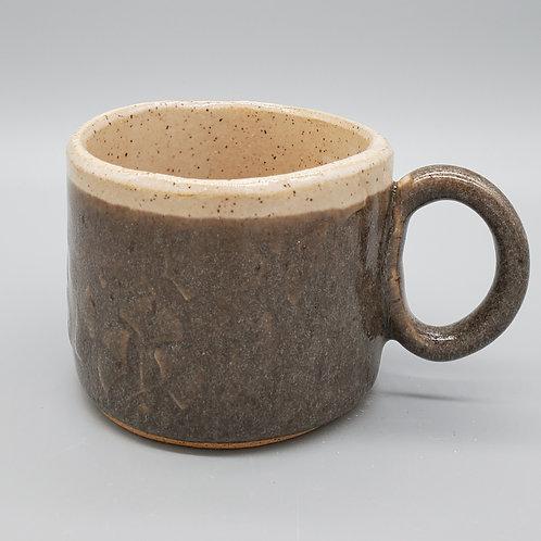 Handmade Ceramic Gray Mug with Ginko Leaves