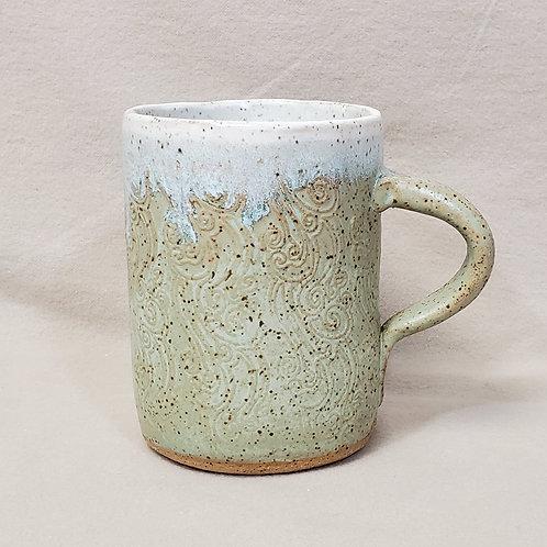 Handmade Turquoise & White Ceramic Mug with a Wave Pattern