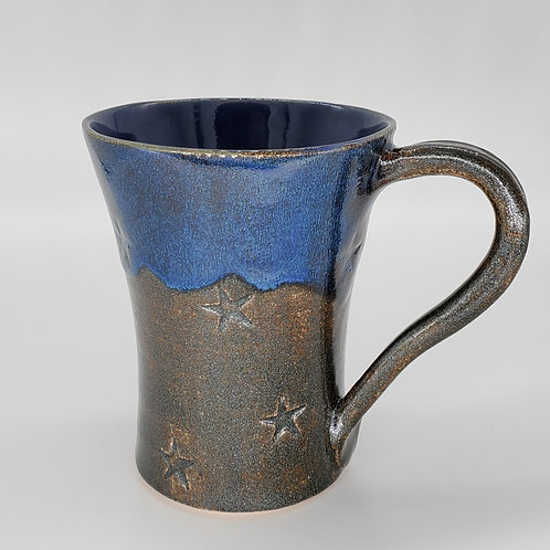 Handmade Ceramic Sapphire Blue Mug with Sparkling Stars