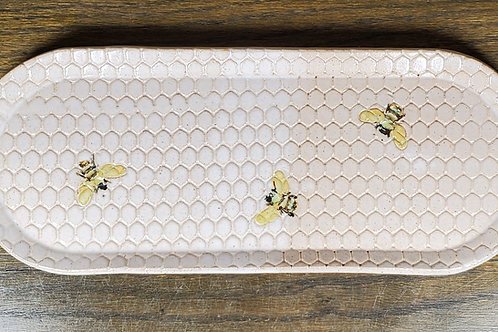 Handmade White Oval Ceramic Serving Tray with Bees / Olive Tray / Cracker Dish
