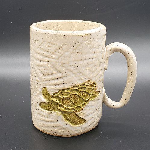 Handmade Ceramic 16 oz White Mug with a Green Sea Turtle
