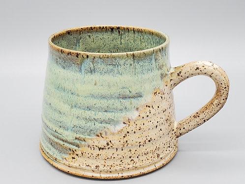 Handmade Ceramic Rippled Green & Beige Mug