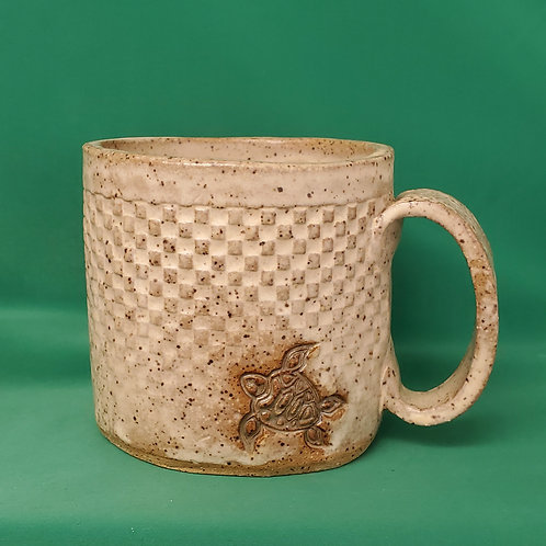Handmade Ceramic Ivory Mug with a Green Sea Turtle