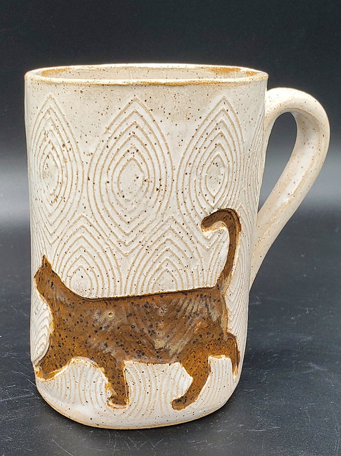 Handmade Ceramic White Mug with a Brown Cat
