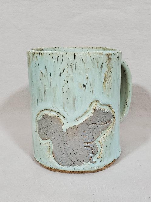 Handmade Ceramic Sea Green Mug with a Gray Squirrel