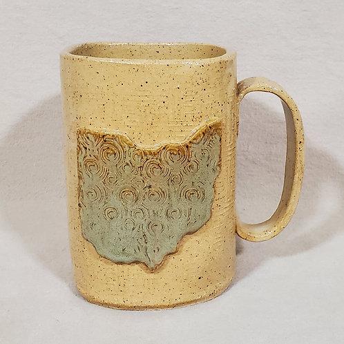 Square Shaped Handmade Ohio State Ceramic Mug