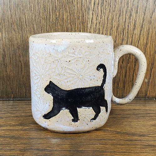 Handmade Ceramic Soft Periwinkle Blue Mug with a Black Cat
