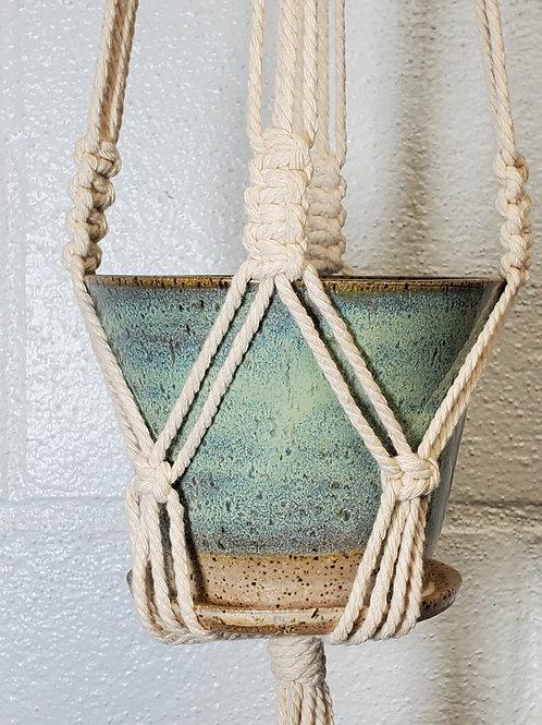 Handmade 4 Inch Iridescent Green Ceramic Planter with Handmade Cotton Macram