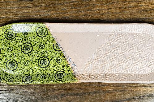 Handmade Green & White Ceramic Serving Tray / Olive Tray / Cracker Dish