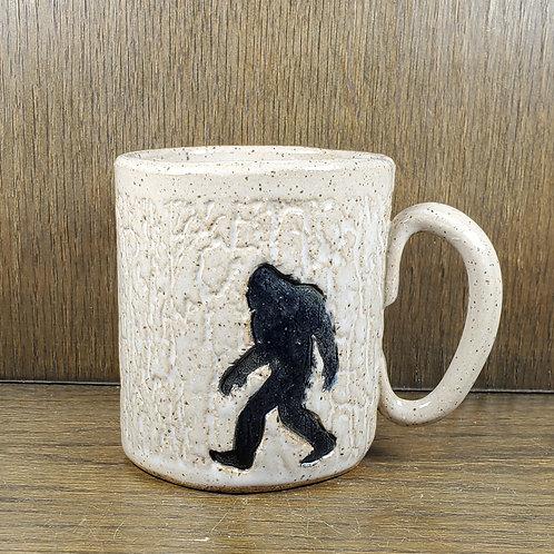 Handmade Ceramic White Mug with a Bigfoot / Sasquatch