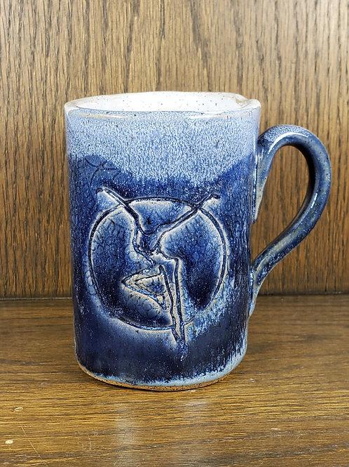 Pre-Order Handmade Navy Blue & White Ceramic 16 oz Mug with a Fire Dancer / DMB