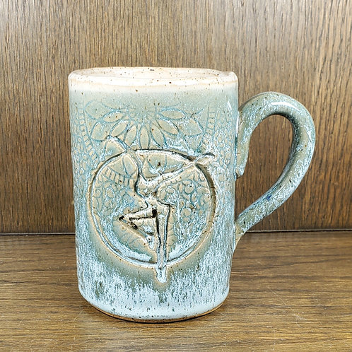 Pre-Order Handmade Turquoise Ceramic 16 oz Mug with a Fire Dancer / DMB Mem