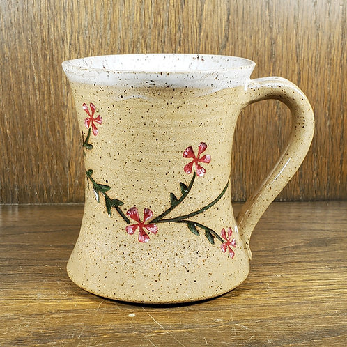 Handmade Ceramic Beige Mug with Pink Plumeria Flowers
