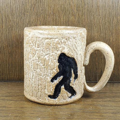 Handmade Ceramic Beige Mug with a Bigfoot / Sasquatch