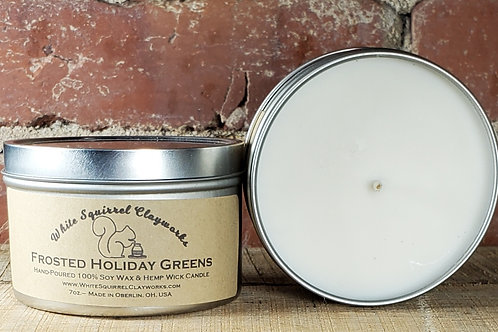 Frosted Holiday Greens Hand-Poured Soy Candle - 7oz