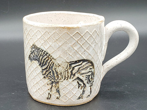 Handmade Ceramic White Mug with a Zebra