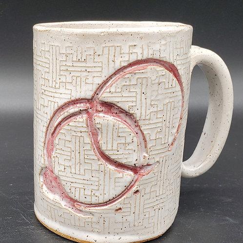 Handmade White Ceramic Mug with Red Coffee Rings / DMB Mem