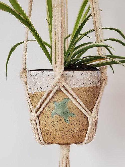 Handmade 4 Inch Beige & White Ceramic Planter w/ Handmade Cotton Macrame Hanger