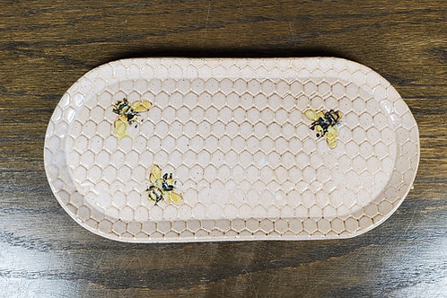 Pre-order Handmade White Ceramic Serving Dish with Bees / Cheese Tray