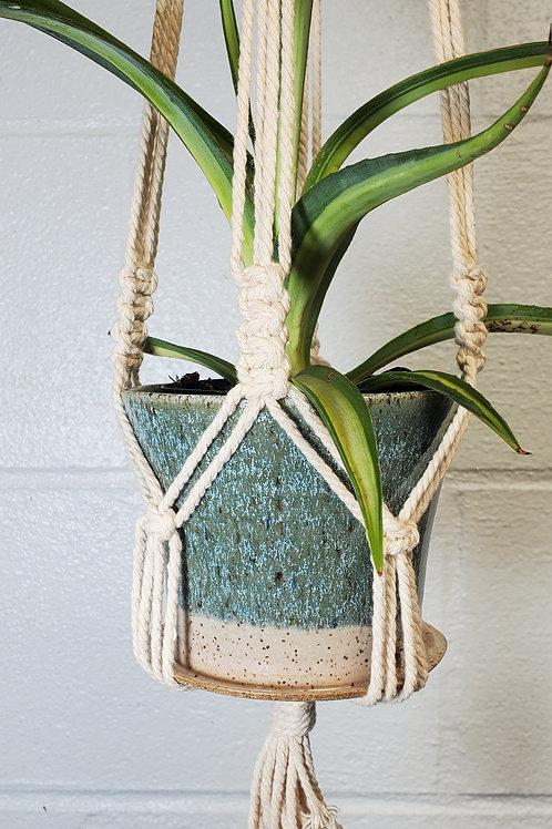 Handmade 4 Inch Turquoise Ceramic Planter with Handmade Cotton Macram