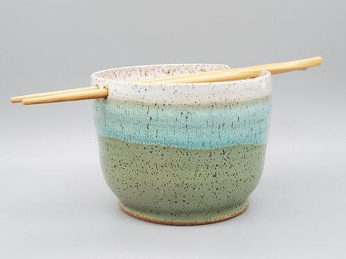 Handmade Green & White Ceramic Ramen / Rice / Noodle Bowl