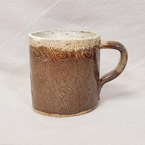 Handmade Brown & White Ceramic Mug with a Swirl Pattern