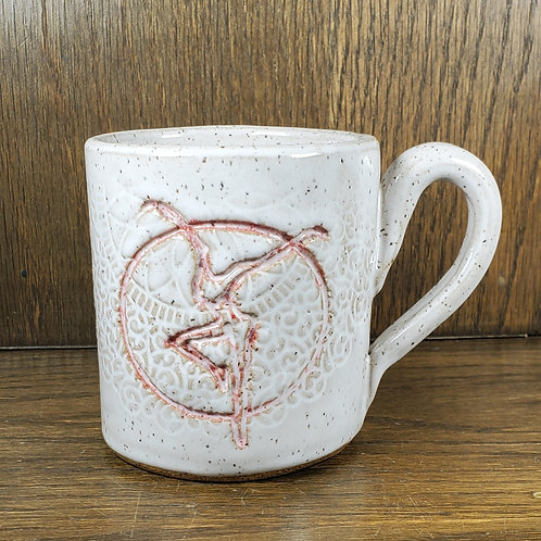 Handmade White Ceramic Mug with a Red Fire Dancer / DMB Mem