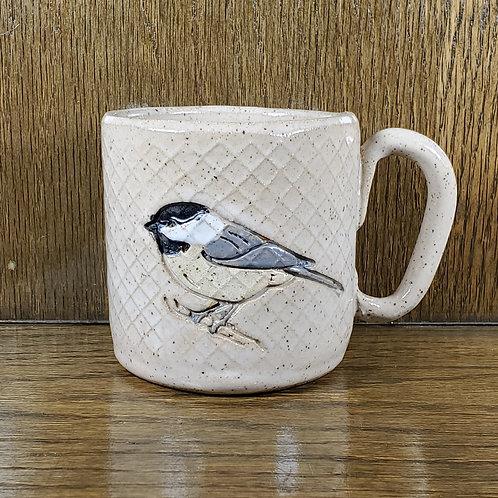 Handmade Ceramic White Mug with a Chickadee