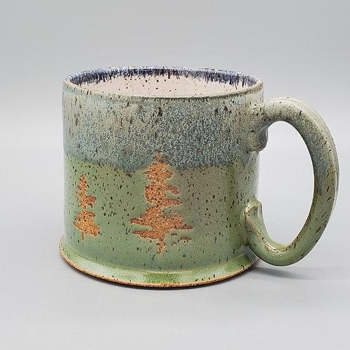 Handmade Ceramic 14 oz Green Tree Mug with a  Blue Sky