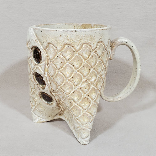 Handmade White Glaze Textured Ceramic Mug with Brown Buttons and Legs