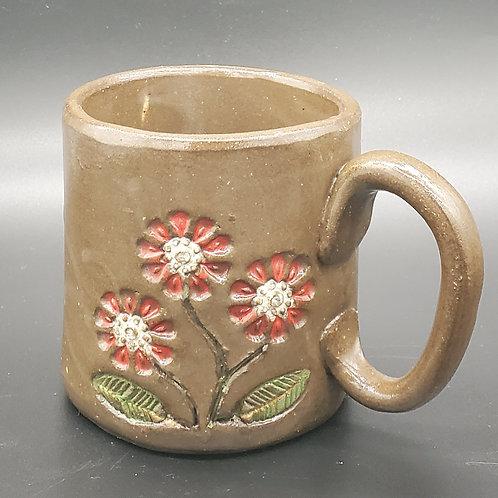 Handmade Ceramic Chocolate Mug with Red Flowers