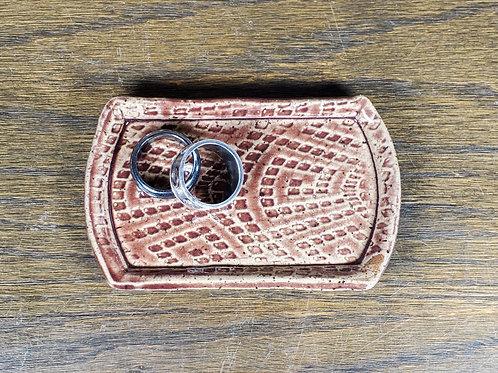 Handmade Red Ceramic Trinket Dish / Jewelry Tray