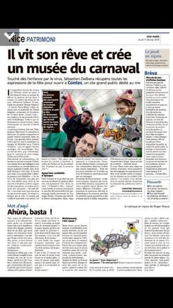 musée du carnaval Nice matin 14-02-2019.