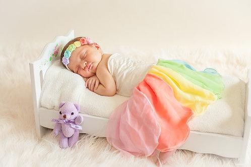 Rainbow Petal Dress, Drape and Tuck Dress
