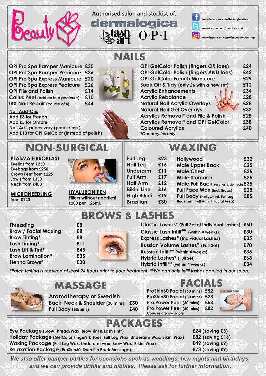 Beauty Box Leicester Pricelist