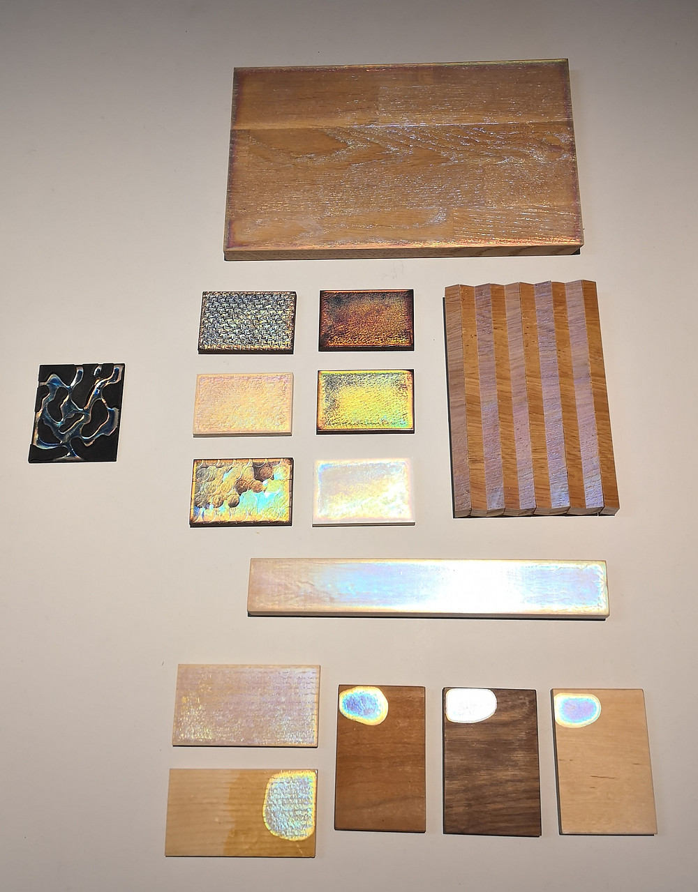 Squares of different materials and finishes.
