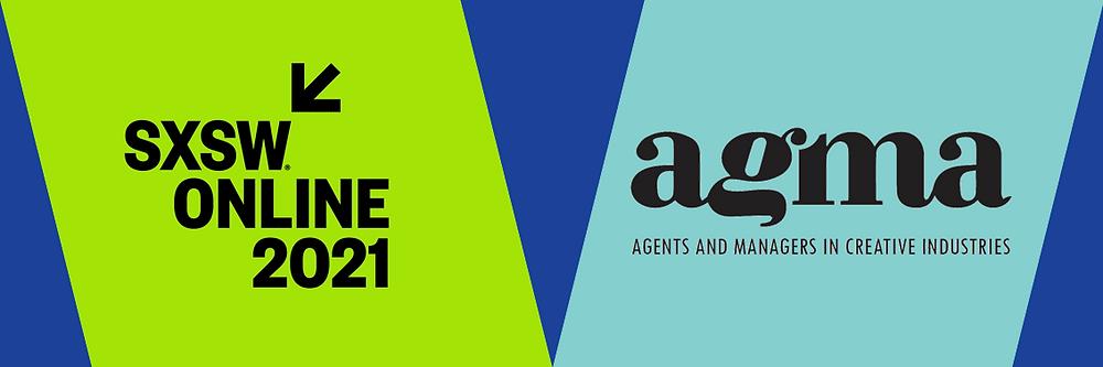 Sinisten ja vihreiden muotojen päällä AGMAn ja SXSW ONline 2021 logot