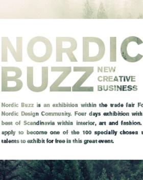 Nordic Buzz logo, jonka taustalla puita sumussa.