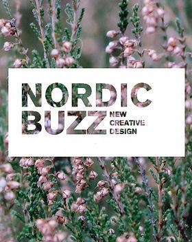 Nordic Buzz logo, jonka taustana lähikuva kanervista.