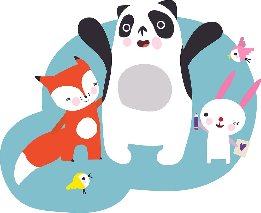 Momolu panda and animal friends