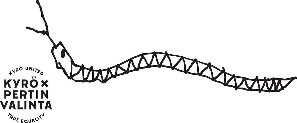 """Mustavalkoinen, käsin piirretty käärme, jonka vasemmalla puolella alanurkassa logo, jossa lukee """"Kyrö united, true equality"""" ja """"Kyrö x Pertin Valinta"""""""
