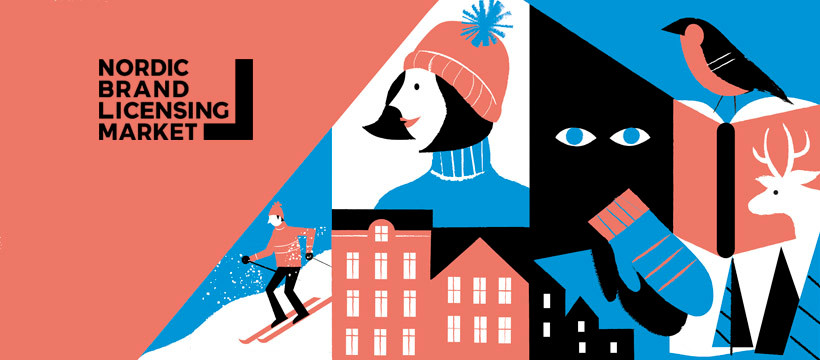 Red, white, blue and black illustrations of a skier, mittens, a reindeer, some houses and trees and a bird, with the Nordic Brand Licensing Market logo in black on top left.