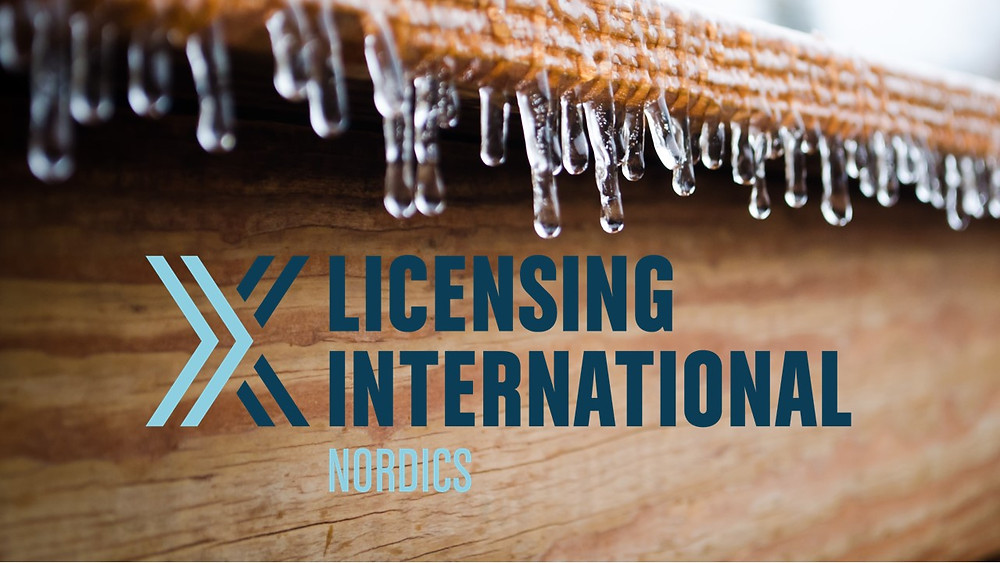 Licensing International Nordics logo over a photo of small icicles forming on a wooden edge