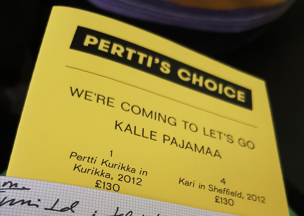 Part of a leaflet, yellow paper printed with black text in FInnish.