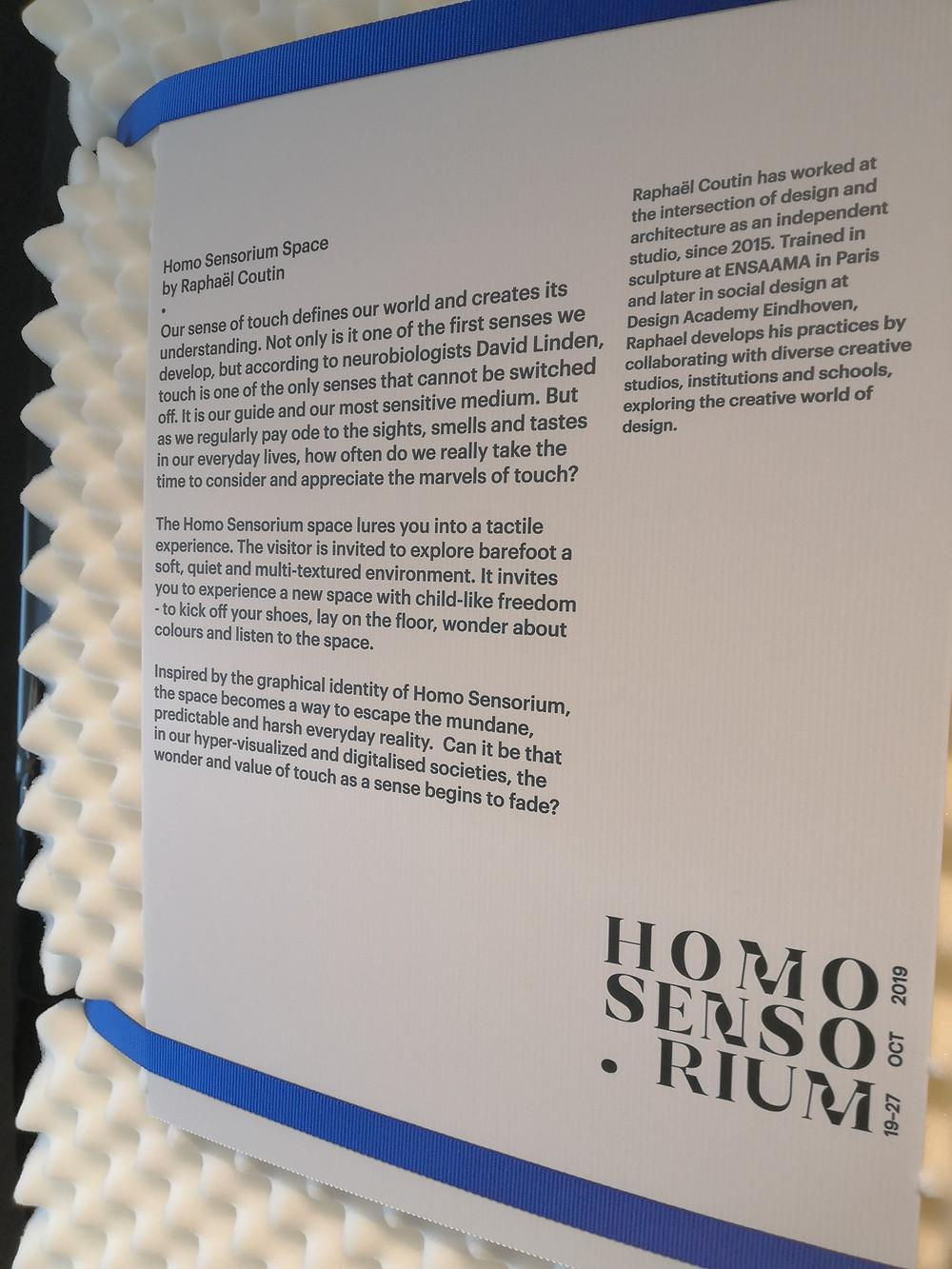 A plaque describing the Homo Sensorium space.